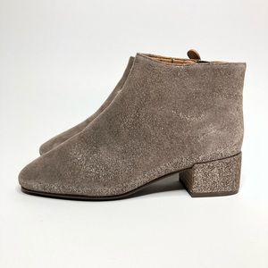 NEW GENTLE SOULS Brown Laina Sparkle Suede Booties